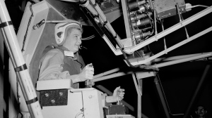 In this 1960 photo made available by NASA, Jerrie Cobb prepares to operate the Multi-Axis Space Test Inertia Facility (MASTIF) at the Lewis Research Center in Ohio. (NASA via AP)