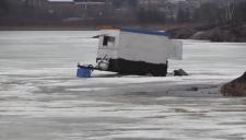 Someone abandoned an ice hut on Kelly Lake