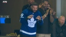 Drake attends a Maple Leafs game on April 17, 2019.