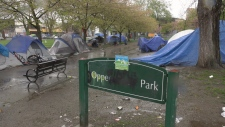 A tent city is growing at Oppenheimer Park.