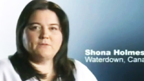 Shona Holmes appears in a TV ad criticizing Canada's health care system.