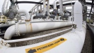 Pipes are seen at the Kinder Morgan Trans Mountain facility in Edmonton, Thursday, April 6, 2017. THE CANADIAN PRESS/Jonathan Hayward