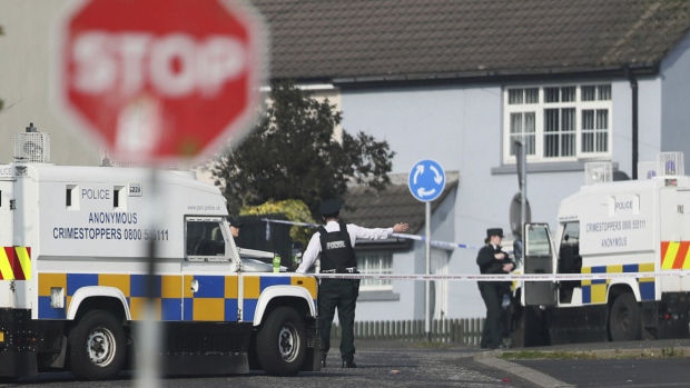 The scene in Londonderry, Northern Ireland, on April 19, 2019, following the death of 29-year-old journalist Lyra McKee. (Brian Lawless/PA via AP)