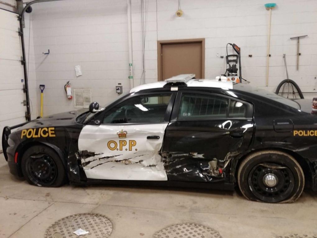 Cruiser sideswipe leaves officer upset but uninjured
