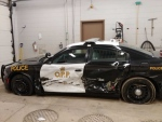 An OPP cruiser was sidewiped near Dutton with an officer inside on Thursday, April 18, 2019.