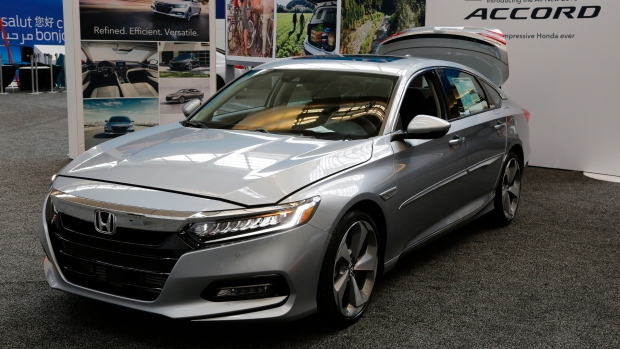 In this Feb. 15, 2018 file photo, a 2018 Honda Accord is displayed at the Pittsburgh Auto Show. (AP Photo/Gene J. Puskar, File)