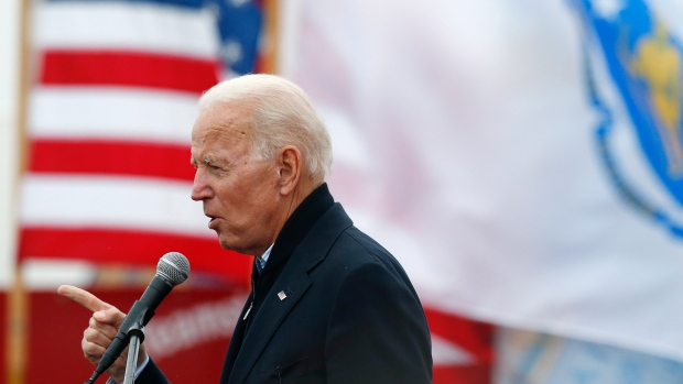 Former vice president Joe Biden speaks at a rally in support of striking Stop & Shop workers in Boston, Thursday, April 18, 2019. (AP Photo/Michael Dwyer)