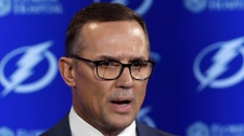 In this Feb. 26, 2018, file photo, Tampa Bay Lightning general manager Steve Yzerman gestures during a news conference before an NHL hockey game against the Toronto Maple Leafs, in Tampa, Fla. (AP Photo/Chris O'Meara, File)