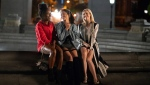 "This image released by Netflix shows DeWanda Wise, from left, Gina Rodriguez and Brittany Snow in a scene from ""Someone Great."" (Sarah Shatz/Netflix via AP)"
