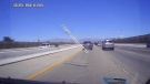 Flying ladder smashes into windshield
