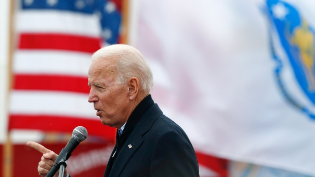 Former vice-president Joe Biden speaks at a rally in support of striking Stop & Shop workers in Boston, Thursday, April 18, 2019. (AP Photo/Michael Dwyer)