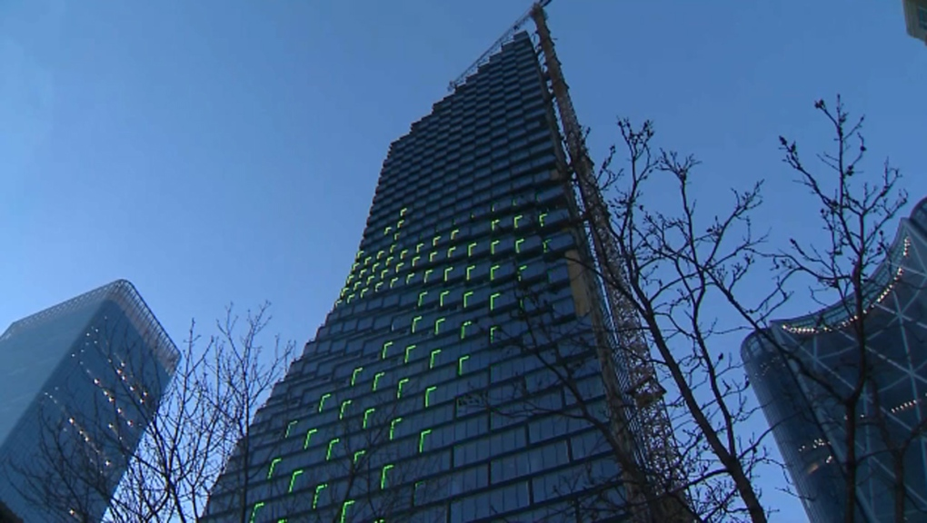 Northern lights inspired sky-rise art display previewed in downtown Calgary