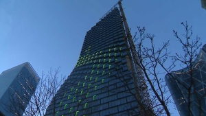 Northern Lights, a light sequencing display created by Douglas Coupland, was previewed on the TELUS Sky building on April 18, 2019
