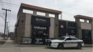 Police outside Bermax Caffé and Bistro on Friday, April 19. (Beth Macdonell/CTV News).