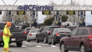 Drivers are seen waiting at the BC Ferries terminal in Tsawwassen on April 19, 2019.