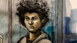 Julian Clarke is seen in this court sketch on April 19, 2019. (Pam Davies/ CTV News Toronto)