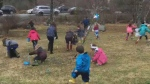 Children from Fall River were hunting for eggs at Frank and Amy Howell's annual Easter egg hunt.