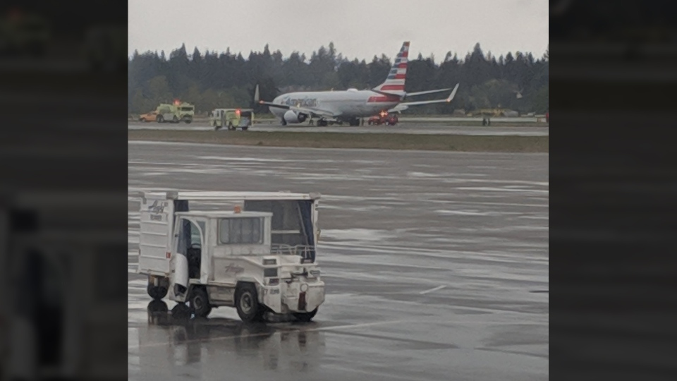 This social media image shows an American Airlines plane after it was forced to land in Seattle on April 19, 2019. (@qxbagboy / Twitter)