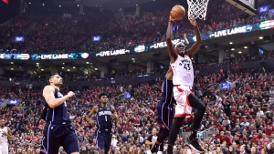 FILE -- Toronto Raptors forward Pascal Siakam (43) scores against the Orlando Magic during first half NBA basketball playoff action in Toronto on Tuesday, April 16, 2019. (THE CANADIAN PRESS/Frank Gunn)