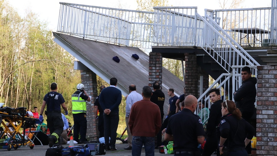 A deck at a home in Aldergrove collapsed during a wedding celebration on April 19, 2019. (CTV News)