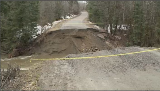 A motorist has died in Pontiac after a road washed away due to flooding. (Photo: MRC des Collines police)