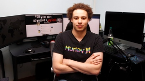British IT expert Marcus Hutchins who has been branded a hero for slowing down the WannaCry global cyber attack, sits in front of his workstation during an interview in Ilfracombe, England, Monday, May 15, 2017. (AP Photo/Frank Augstein)