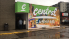 People line up to get into Central Cannabis in London on Saturday, April 20, 2019.