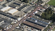 Surrey's Vaisakhi celebration, where hundreds of thousands of people gather every year, is seen from CTV's Chopper 9 helicopter on Saturday, April 20, 2019.