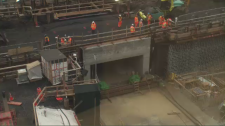 Work to position the tunnel at Vendome finished early Saturday morning – and faster than officials had hoped, considering the potentially complicated setbacks builders could have faced in the process. (CTV Montreal)