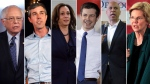 Democratic candidates for president Bernie Sanders, Beto O'Rourke, Kamala Harris, Pete Buttigieg, Cory Booker and Elizabeth Warren are seen in this composite image.