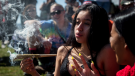 Tens of thousands of pot-smokers descended on Vancouver's Sunset Beach Park on Saturday to celebrate the first 4/20 since cannabis was legalized in Canada. April 20, 2019. (THE CANADIAN PRESS/Darryl Dyck)