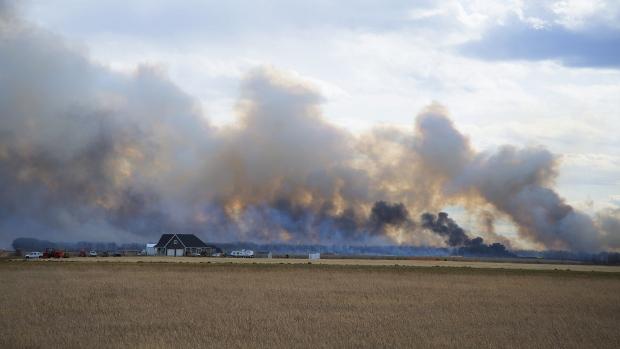 A grassfire blazing west of Saskatoon on April 4, 2019.