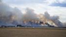 A grassfire blazing west of Saskatoon on April 20, 2019.