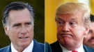 Republican Senator of Utah Mitt Romney and U.S. President Donald Trump are seen in this composite image.