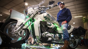 Jason St. Pierre showing off his Humboldt Broncos inspired motorcycle at the Draggins' Car Show in Saskatoon. Photo by Slavomir Kutas/CTV NEWS