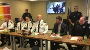Miramichi Police Force Deputy Chief Brian Cummings addresses media following a single vehicle accident that claimed the lives of four teenagers.