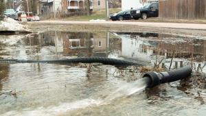 Streets in Pembroke underwater