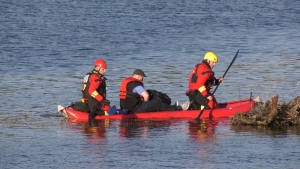 A photographer on Vancouver Island needed to be rescued Saturday evening after he was trapped on a sandbar by rising tide waters. (CTV)