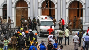 Sri Lankan Army soldiers secure the area around St. Anthony Shrine after a blast in Colombo, Sri Lanka, Sunday, April 21, 2019.  (AP Photo/Chamila Karunarathne)