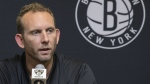 FILE - This June 18, 2018, file photo shows Brooklyn Nets General Manager Sean Marks during a news conference introducing the team's draft picks in New York. (AP Photo/File, Mary Altaffer)