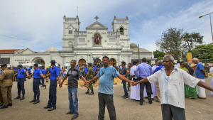 In this Sunday, April 21, 2019, photo, Sri Lankan army soldiers secure the area around St. Anthony's Shrine after a blast in Colombo, Sri Lanka. (AP Photo/ Rohan Karunarathne, file )