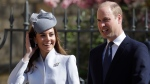 Prince William and Kate, The Duchess of Cambridge arrive to attend the Easter Mattins Service at St. George's Chapel, at Windsor Castle in England Sunday, April 21, 2019. (AP Photo/Kirsty Wigglesworth, pool)