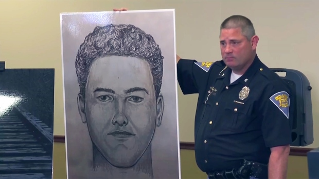 Indiana police show a police sketch of the suspect in the 2017 murders of Abigail Williams and Liberty German, Monday, April 22, 2019.