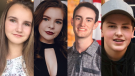 Pictured from left to right: Cassie Lloyd, Emma Connick, Logan Matchett and Avery Astle. All four teens were killed when their vehicle left the road and landed on its roof in a ditch filled with icy water in Miramichi, N.B., on April 20, 2019. (Facebook)