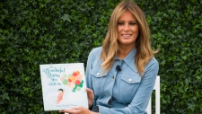 "First lady Melania Trump prepares to read ""The Wonderful Things You Will Do,"" to children on the South Lawn of the White House in Washington, Monday, April 22, 2019, during the annual White House Easter Egg Roll. (AP Photo/Alex Brandon)"