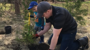 A pair plant a tree seedling on Earth Day. (Natalie van Rooy / CTV Kitchener)