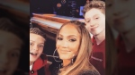 The Vancouver Island-based dance duo Funkanometry, Carlow Rush and Jacksun Fryer, pose with mentor Jennifer Lopez behind the scenes at NBC's World of Dance competition. Friday April 19, 2019. (Instagram/@funkanometry_)