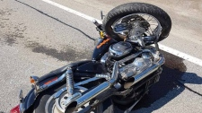 A motorcycle following a crash east of Cambridge