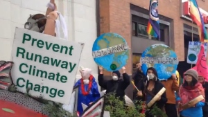 Environmental groups hold an Earth Day protest on Douglas Street in downtown Victoria in April 2019. (CTV Vancouver Island)