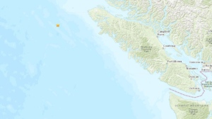 The quake struck about 170 kilometres west of Port Hardy, B.C. (USGS)